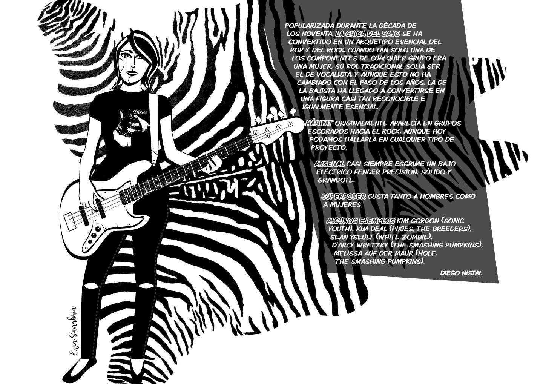 Alfombrario pop: bajista de los 90 - Ilustración: Eva Sanabria