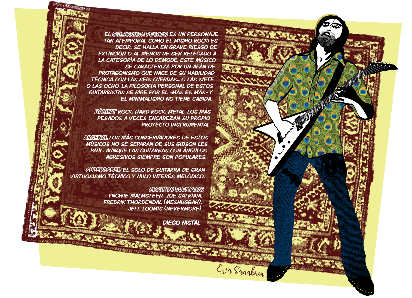 Alfombrario pop: guitarrista pesado - Ilustración: Eva Sanabria