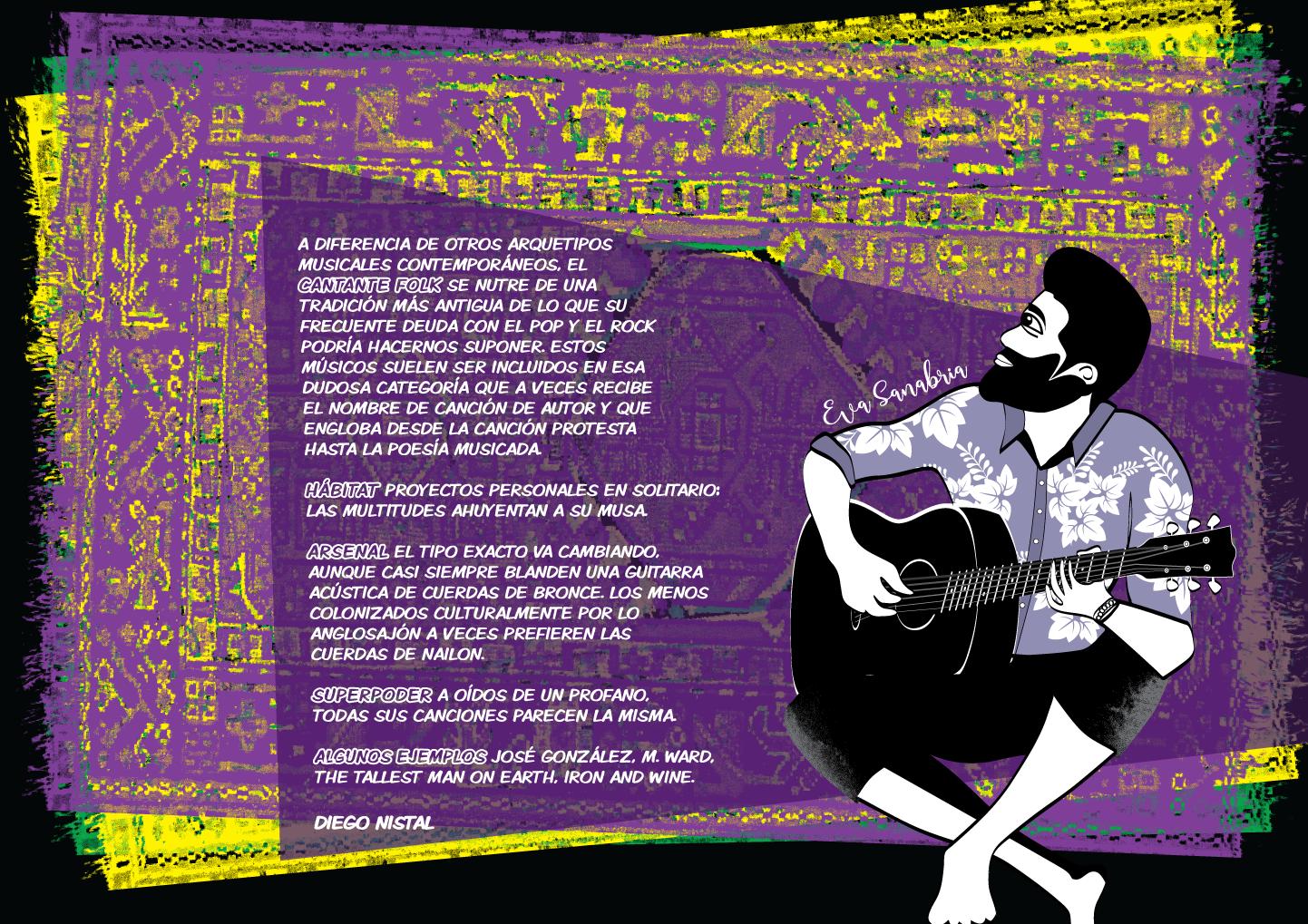 Alfombrario pop: cantante folk - Ilustración: Eva Sanabria